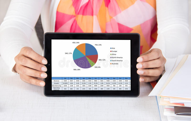 Corporate executive showing tablet computer with chart stock image