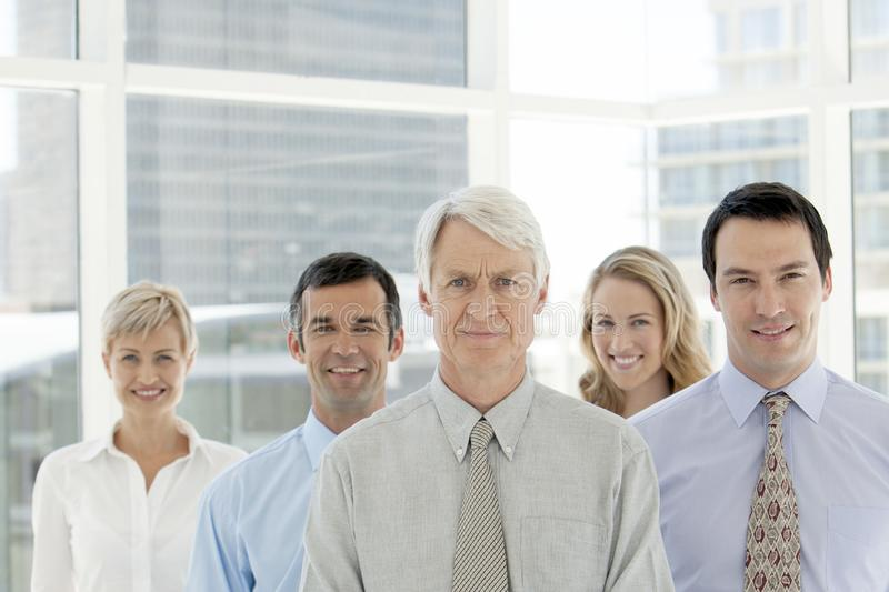 Corporate executive team - group portrait - business people standing in a row royalty free stock photography