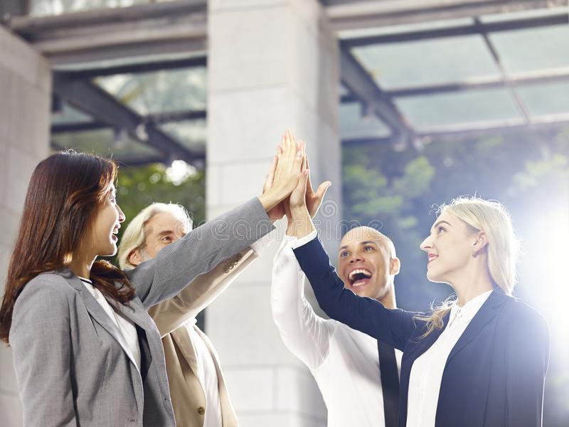 Corporate executives celebrating achievement and success royalty free stock images
