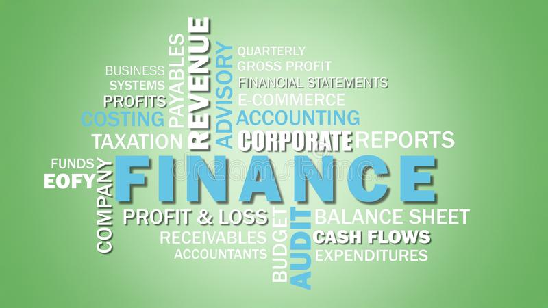 Corporate finance and accounting related words word cloud. Corporate finance and accounting related words word cloud on pale green background royalty free illustration