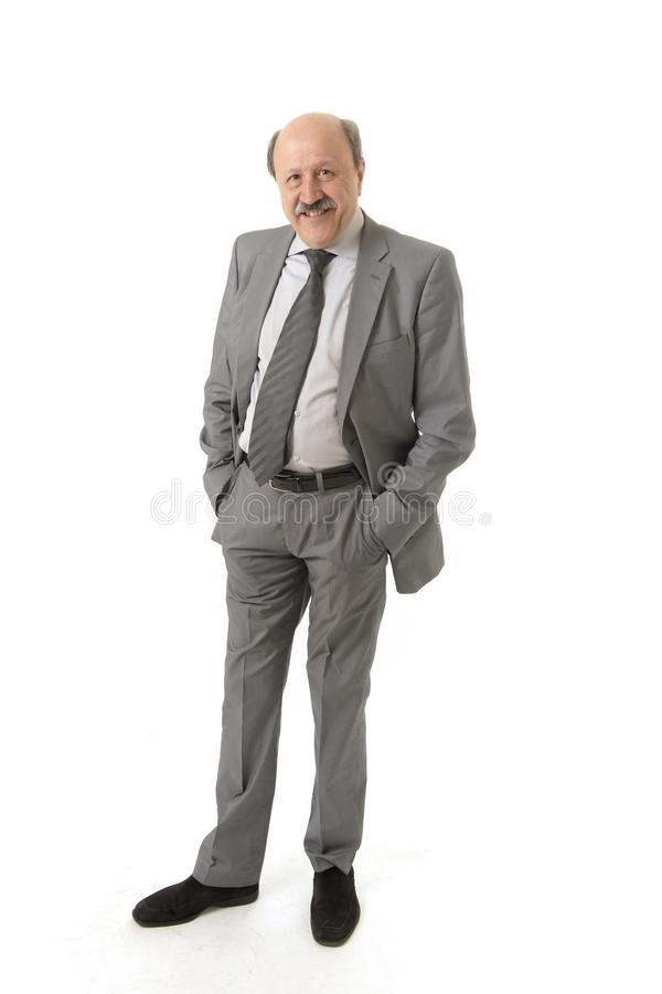 Corporate full body portrait bald 60s happy and confident business posing neat and tidy smiling happy isolated on white. Background in work and career success royalty free stock image