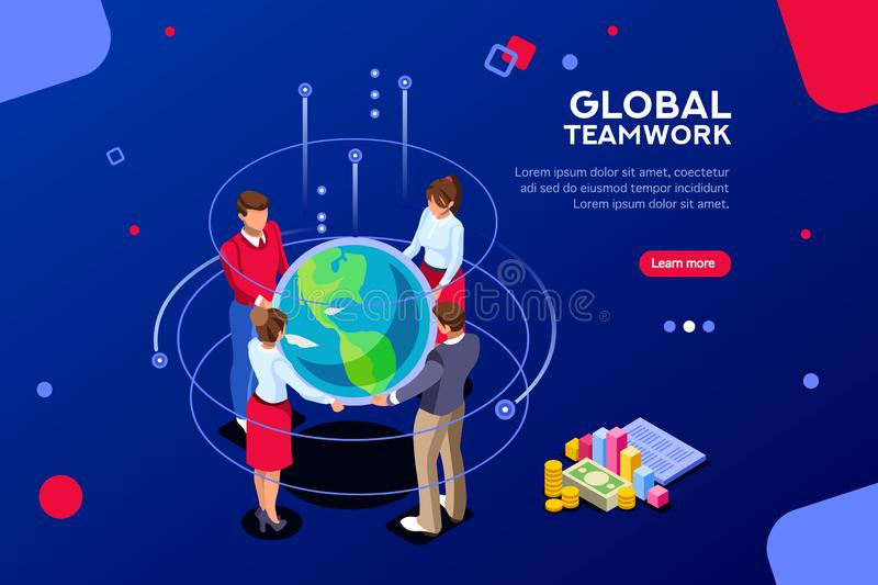 Corporate Global New Meeting Search Idea. Search idea, new meeting profit, worker partner, staff strategy. Businesswoman presentation. Confident company investor stock illustration