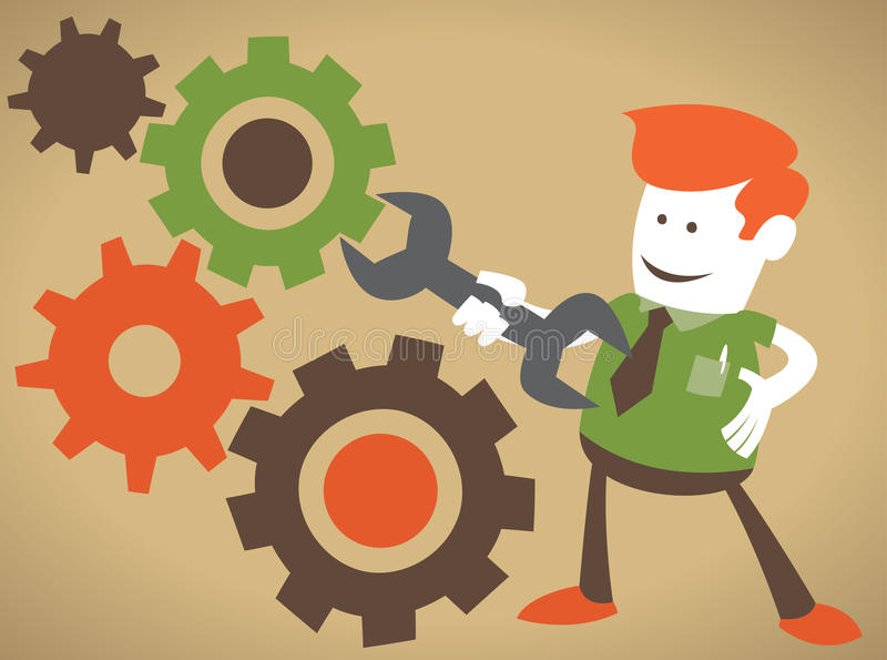 Corporate Guy Fixes the machine vector illustration