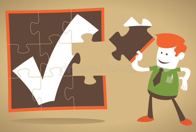 Corporate Guy has the missing piece of the puzzle royalty free illustration