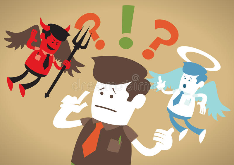 Corporate Guy has a Moral Dilemma. Great illustration of Retro styled Corporate Guy caught up in a Catch-22 battle of wills with both a devil and an angel royalty free illustration
