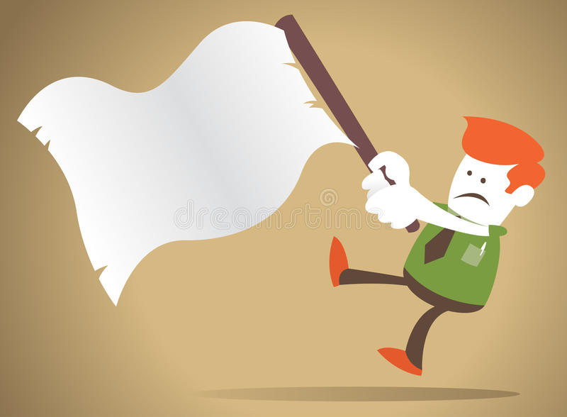 Corporate Guy waves the white flag of surrender. Corporate Guy has failed in business as he waves the white flag of surrender stock illustration