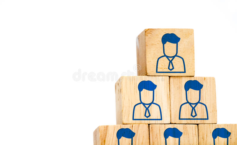 Corporate hierarchy profile icon on wood cube isolated on white. Background ,Human resources concept royalty free stock image