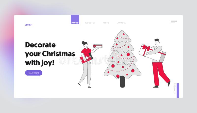 Corporate or Home Christmas Party Celebration Website Landing Page. Happy People Holding Gift Boxes Giving Presents. On New Year Holidays Web Page Banner vector illustration