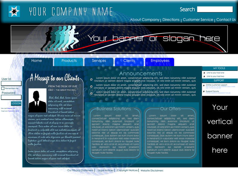 Download Corporate Home Page Website Template Stock Vector - Illustration of computer, label: 13825667