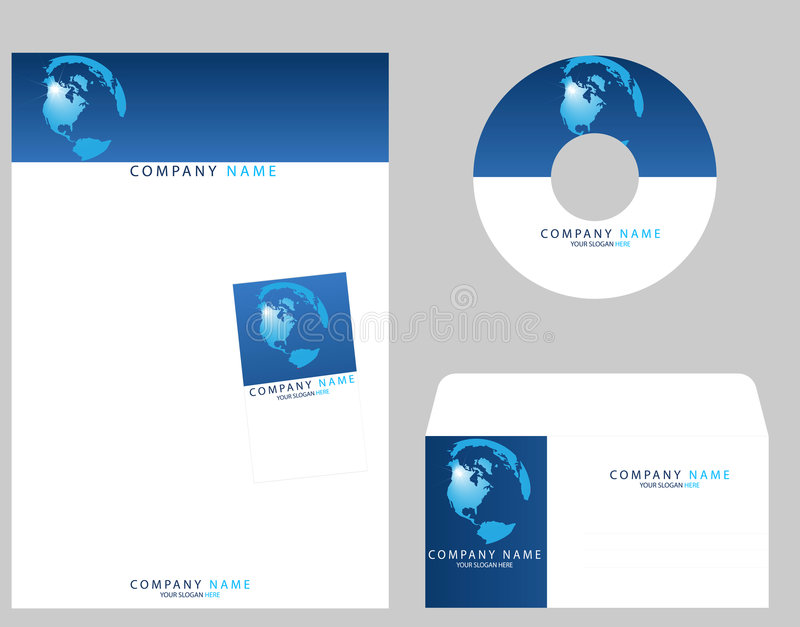 Corporate Identity. Template , cd envelope,visiting card, letter head. This template very useful to software company peoples websites stock illustration