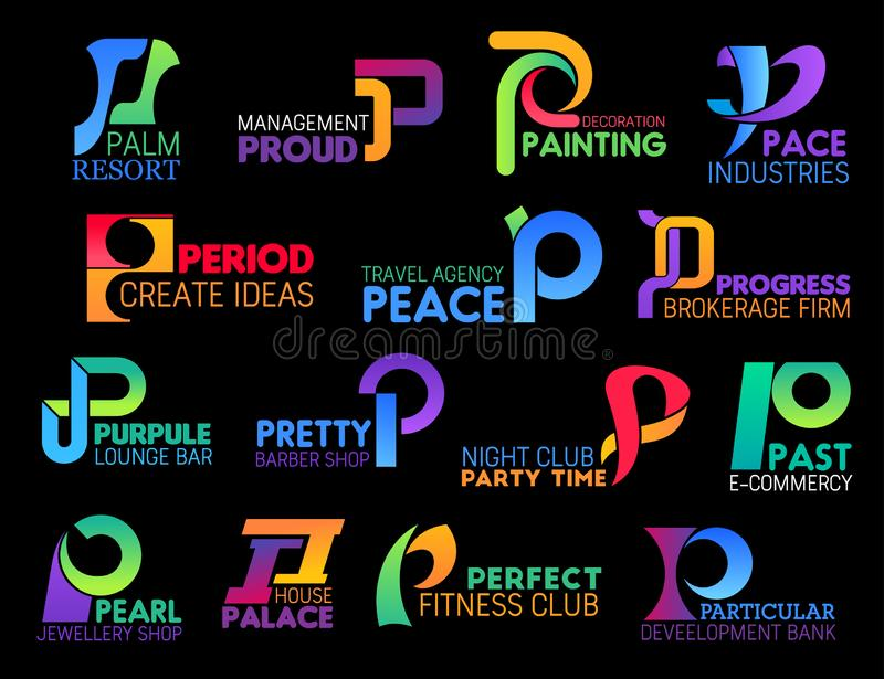 Corporate identity abstract creative shape P icons. Letter P corporate identity icons of travel agency, barbershop or jewelry shop and gym or fitness club royalty free illustration