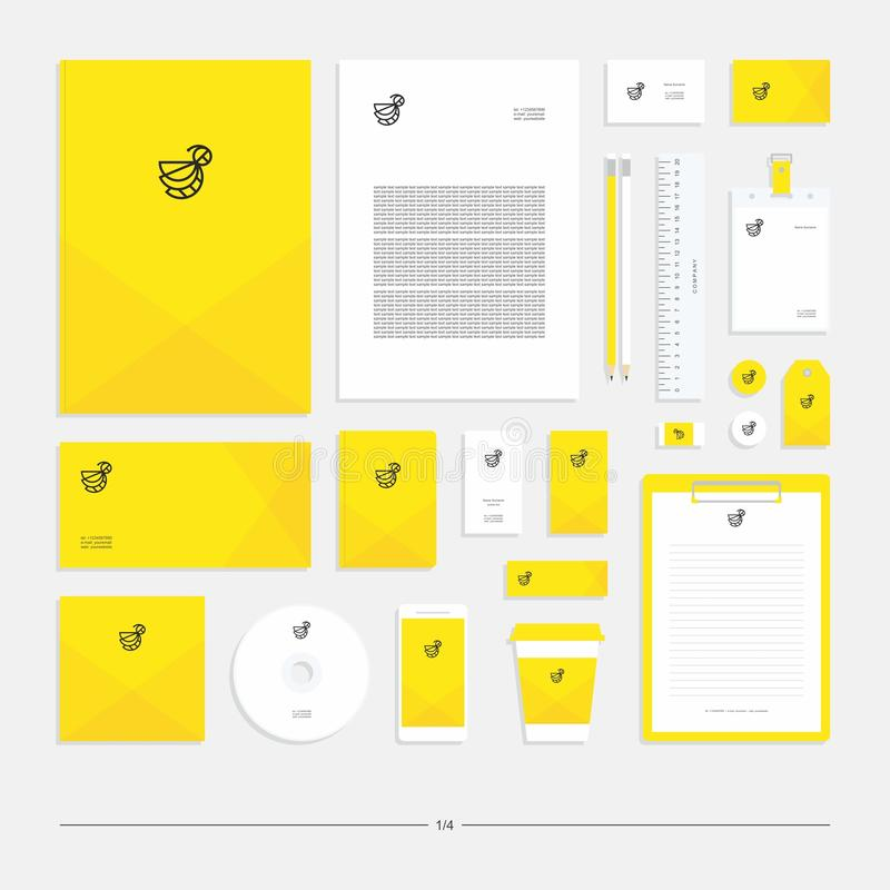Corporate identity with a bee sign on a yellow background. vector illustration