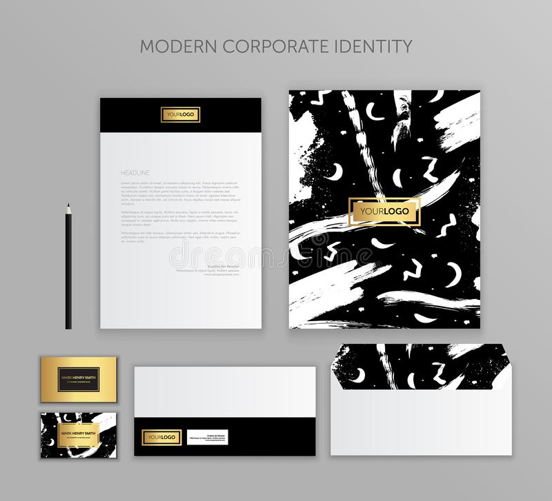 Corporate identity business set. Modern stationery template design. Documentation for business. Set of envelope, card, folder, etc. Vector illustration.Abstract stock illustration
