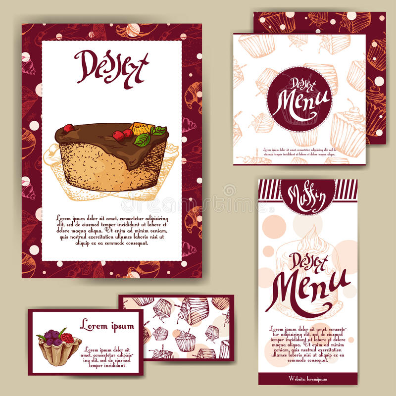 Corporate identity for cafe or restaurent. Sweet style with hand drawn desserts. Concept for bakery stock illustration