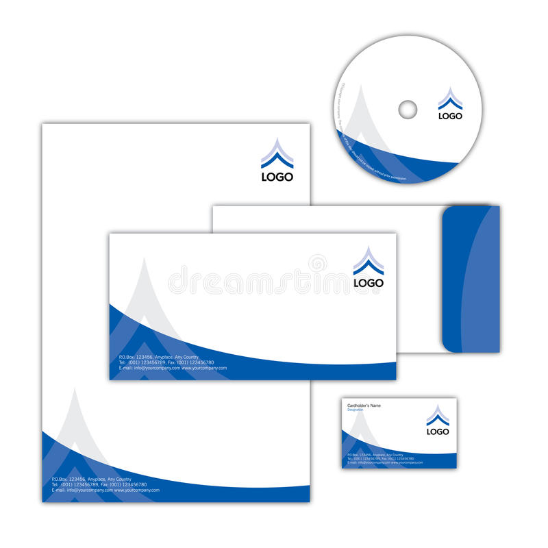 Corporate Identity Design 002. Full Corporate Identity Package with Business Card, Letterhead, CD Surface Design & Envelope stock illustration