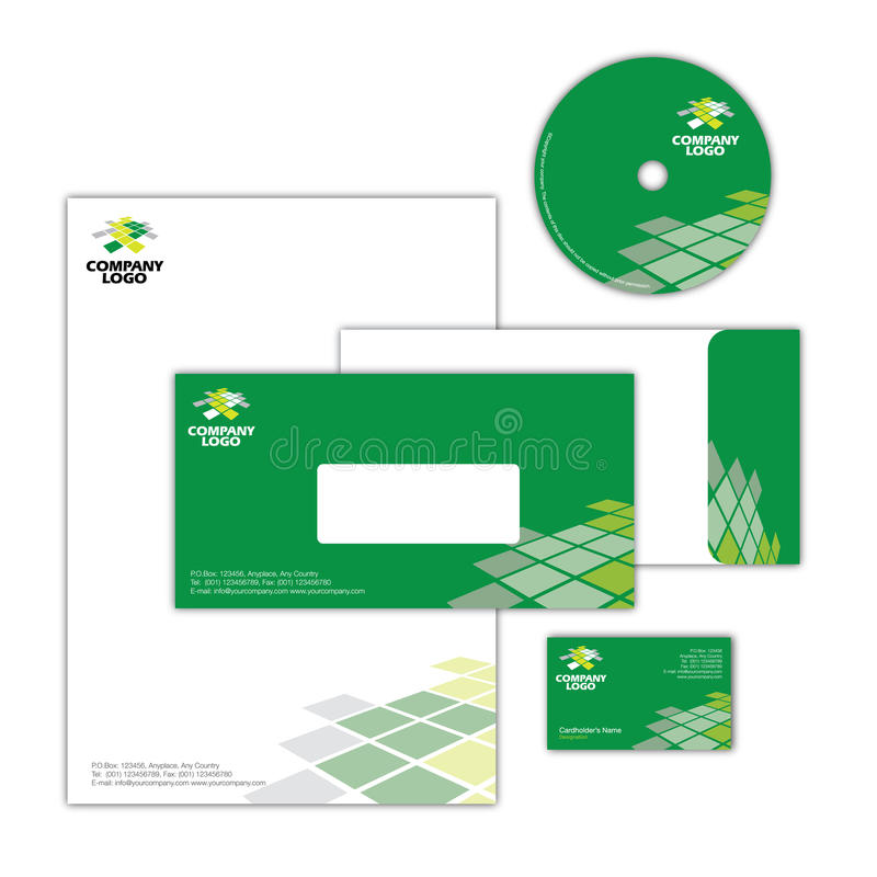 Corporate Identity Design 003. Full Corporate Identity Package with Business Card, Letterhead, CD Surface Design & Envelope stock illustration