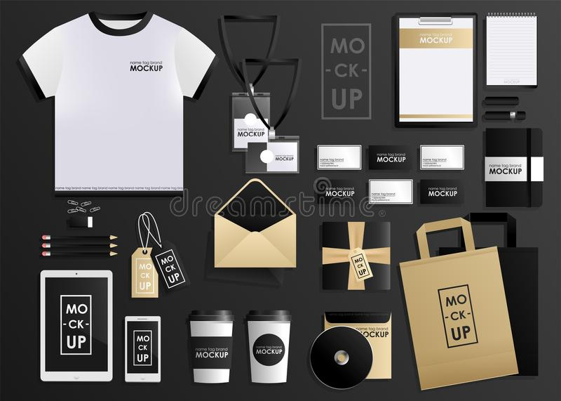 Corporate identity design template set. Mock-up package, tablet, phone, price tag, cup, notebook. Vector concept vector illustration