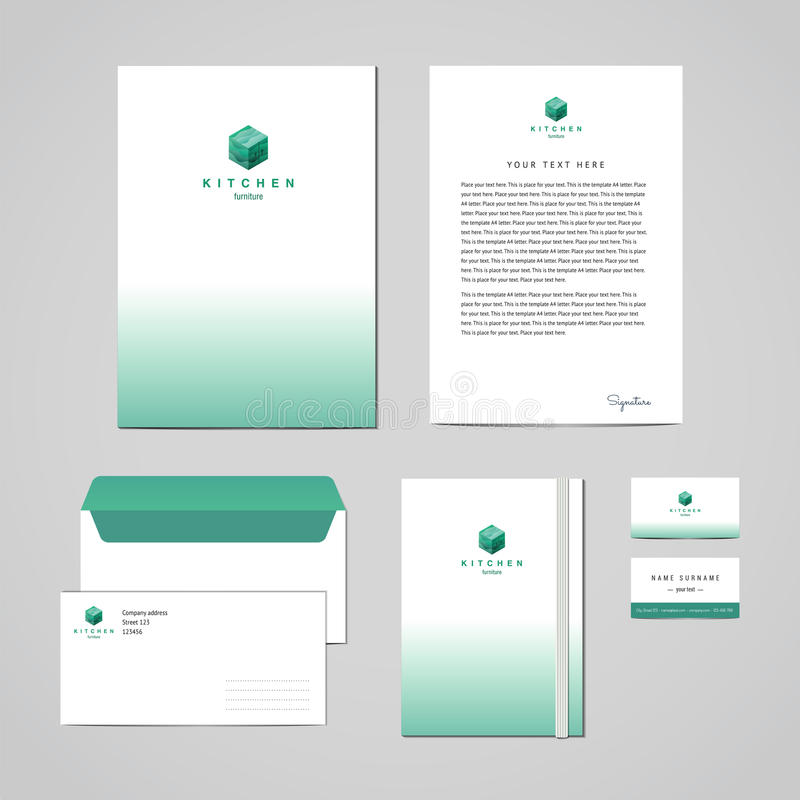 Corporate Identity Furniture Company Turquoise Design Template