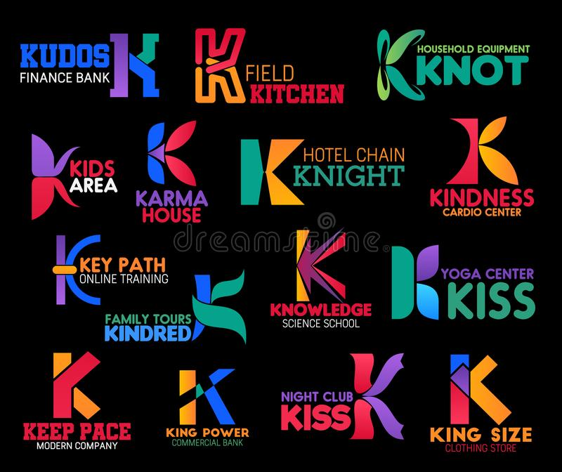 Corporate identity premium style letter K icons. Letter K corporate identity icons of finance bank, cardio medical center or online training courses and science stock illustration