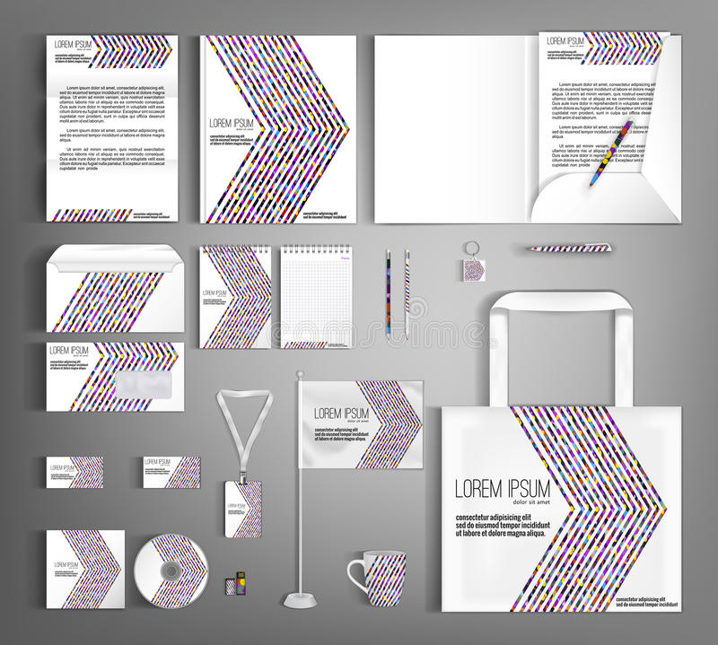 Corporate Identity. Set with colorful designs. Striped corporate identity template design with colorful lines. Business set stationery royalty free illustration