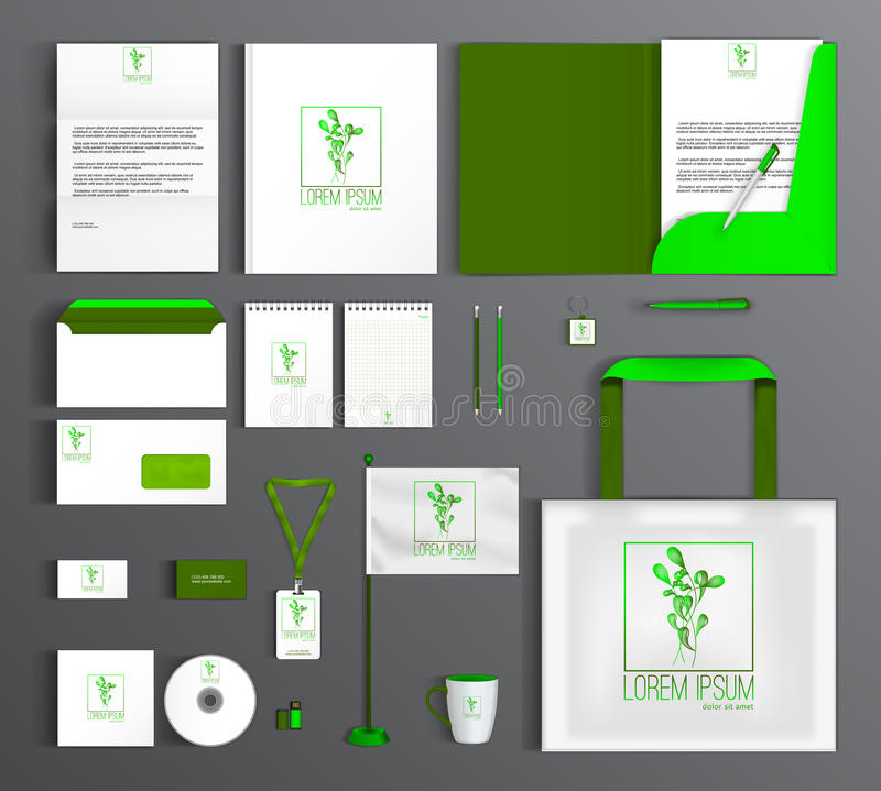 Corporate Identity set with eco friendly design. stock illustration