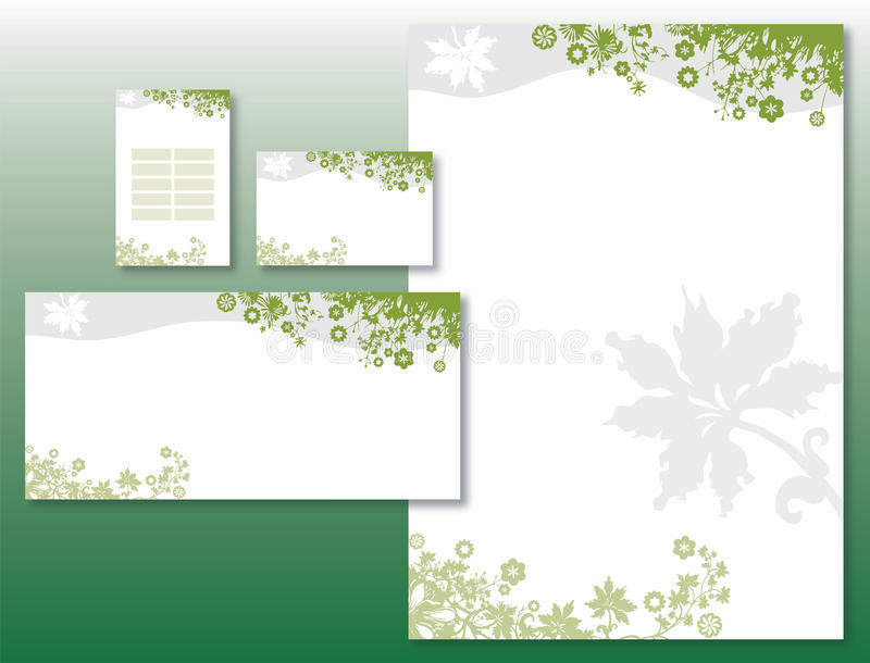 Download Corporate Identity Set - Flower Border In Green Stock Vector - Illustration: 13553542