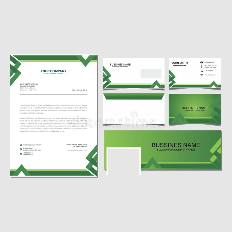 Free Corporate Identity Set Green Lattern Template Vector Royalty Free Stock Image - 116861816