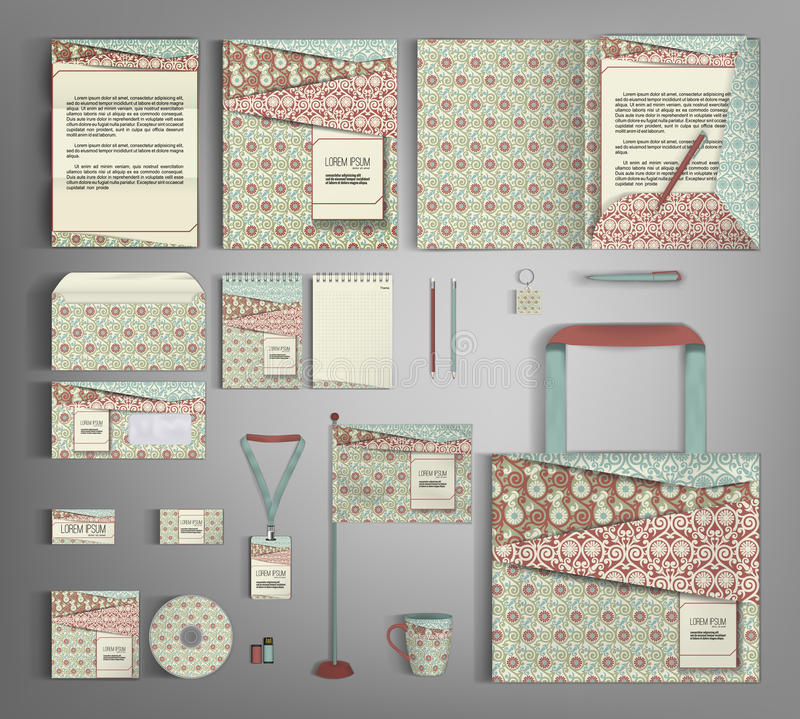 Corporate Identity set with retro pattern. vector illustration