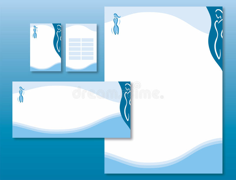 Download Corporate Identity Set - Woman Body Icon In Blue. Royalty Free Stock Images - Image: 13481879