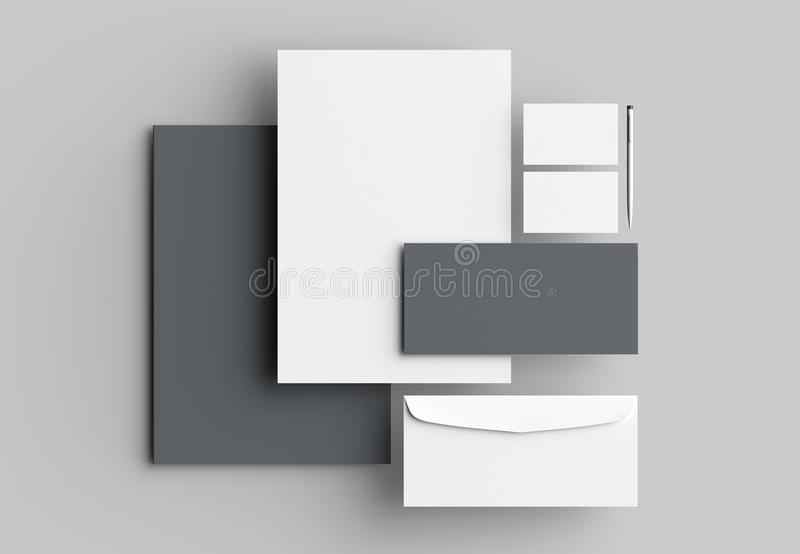 Corporate identity stationery mock up isolated on gray background. 3D illustrating. Corporate identity stationery mock up isolated on gray background. 3D stock illustration