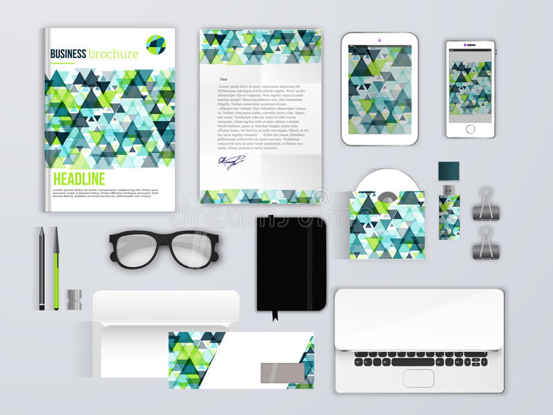 Corporate identity template. Branding MockUps with phone, envelope, brochure and glasses. royalty free illustration