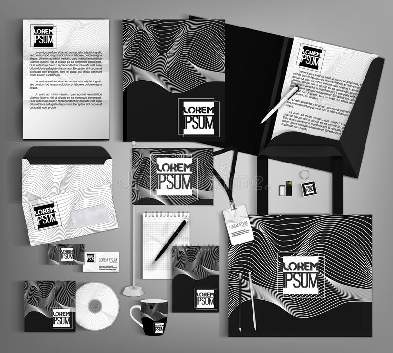 Corporate identity template design with a black and white wave. Business set stationery royalty free illustration