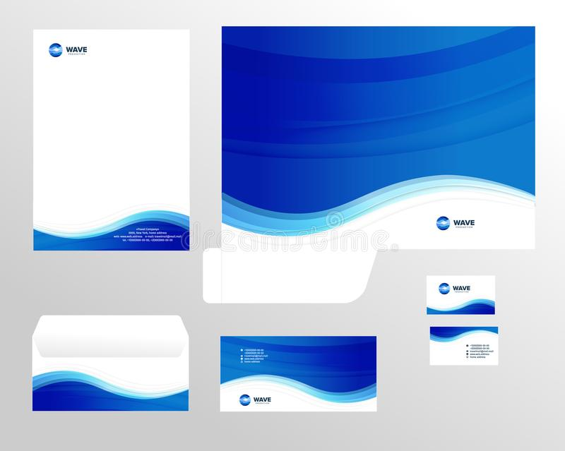 Corporate identity template design, visual marketing brand, business identity set. Card, letterhead, envelope, folder vector illustration