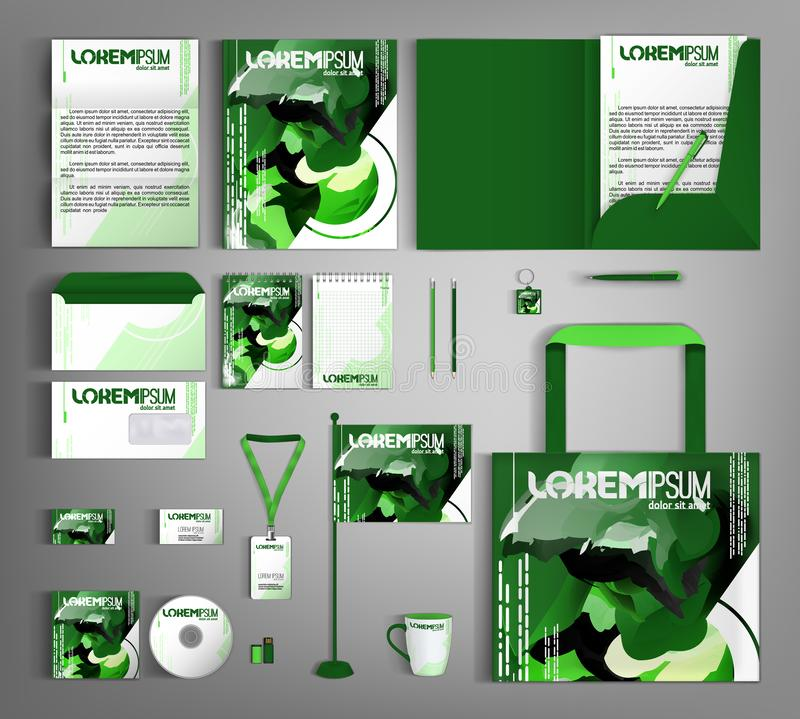 Corporate identity template. Green set with paint stains. Modern trendy style. Vector illustration stock illustration