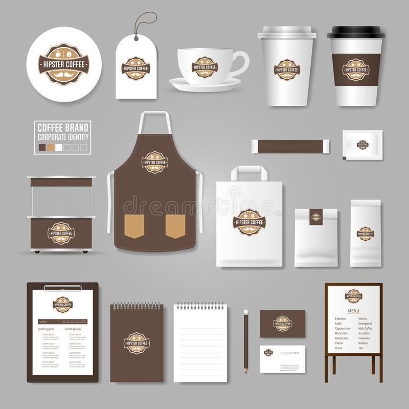 Corporate identity template. Logo concept for coffee shop, cafe, restaurant. Realistic mock up template set of menu, package, cup stock illustration