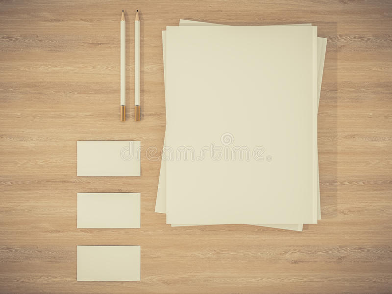 Corporate Identity Template mockup on vintage wooden substrate stock illustration