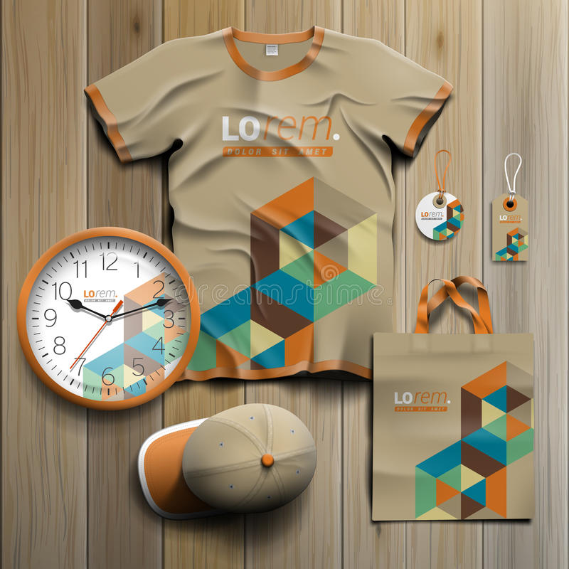 Corporate identity template and promotional gifts stock illustration