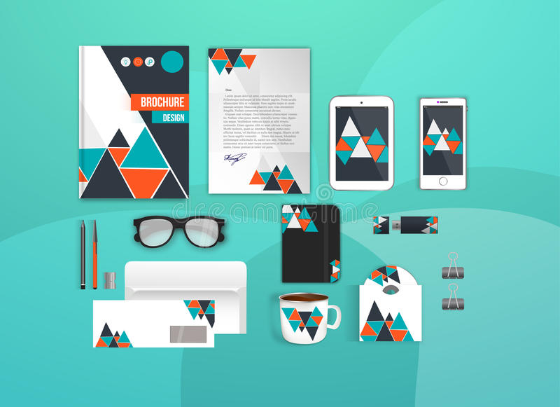 Corporate identity template set. Business stationery mock-up for branding design. Letter envelope, card, catalog, pen stock illustration