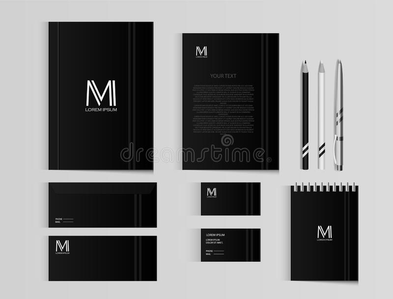 Corporate identity template set. Business stationery mock-up with logo template. Set of envelope, notebook, card, folder, paper ba vector illustration