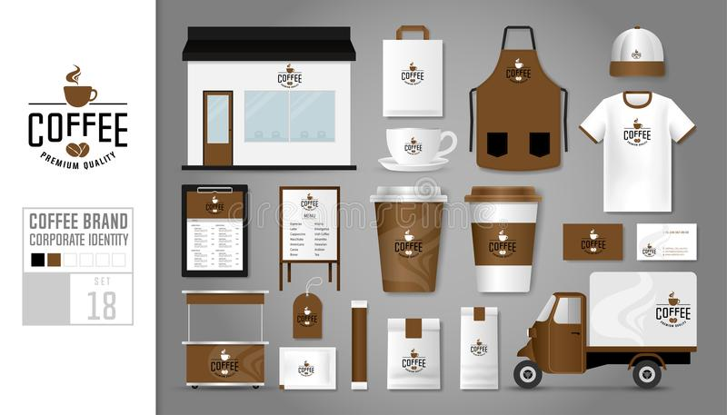Corporate identity template Set 18. Logo concept for coffee shop vector illustration