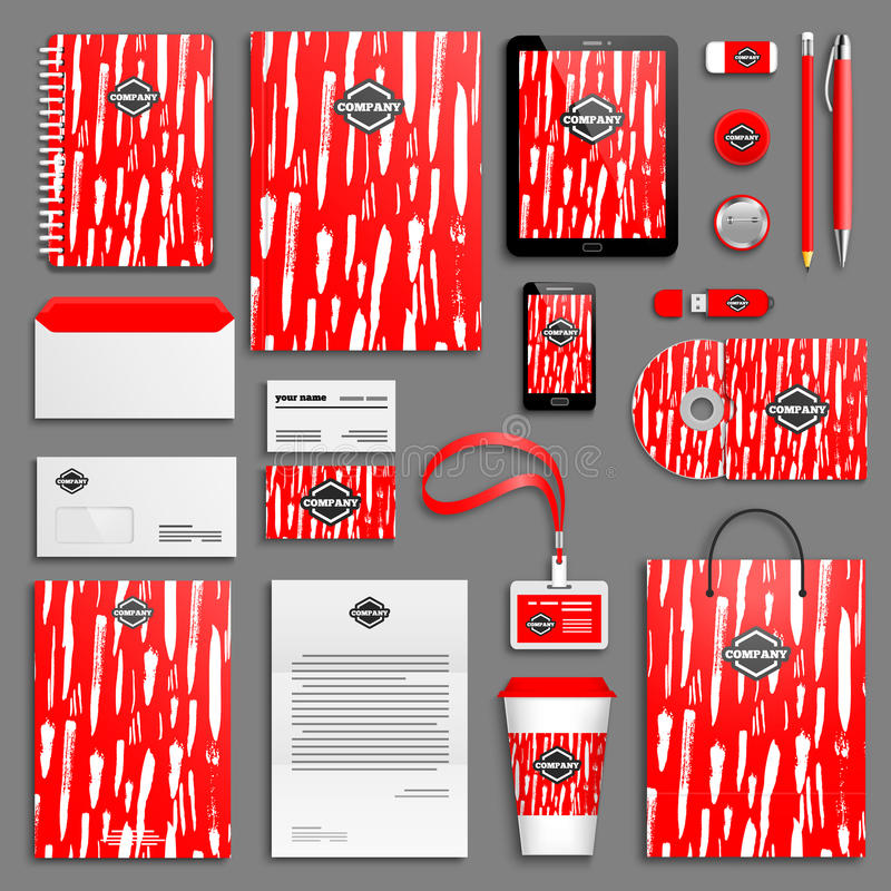 Corporate identity template set. Red bright Corporate identity template set. Business stationery mock-up with logo. Branding design. Colorful geometric vector illustration