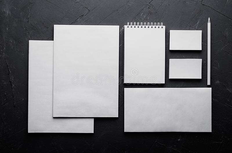 Corporate identity template, stationery on dark grey concrete texture. Mock up for branding, graphic designers presentations and p stock photo