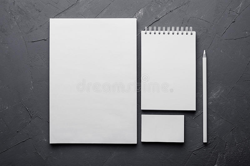Corporate identity template, stationery on dark grey concrete texture. Mock up for branding, graphic designers presentations and p. Ortfolios stock photography