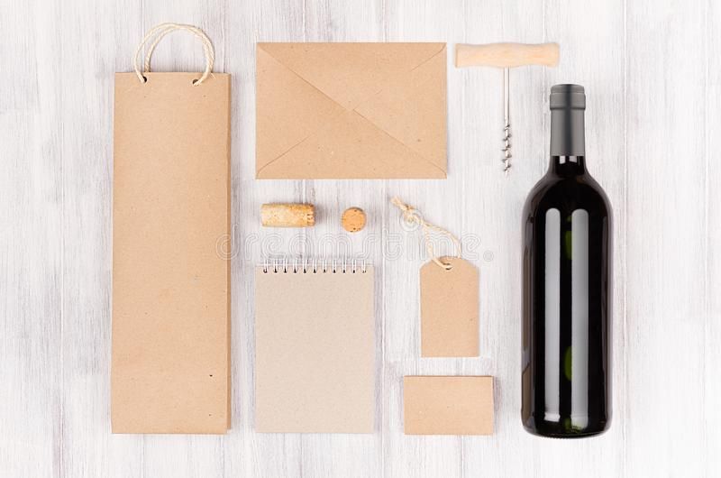 Corporate identity template for wine industry, blank brown kraft packaging, stationery, merchandise set with bottle red wine on s stock image