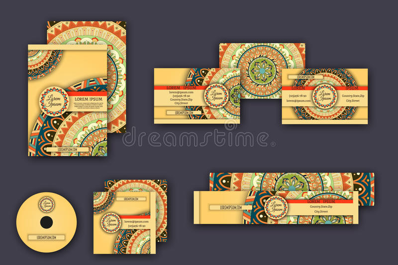 Corporate identity templates set with mandala pattern ethnic elements. Ornamental corporate identity business templates set with mandala pattern ethnic elements stock illustration