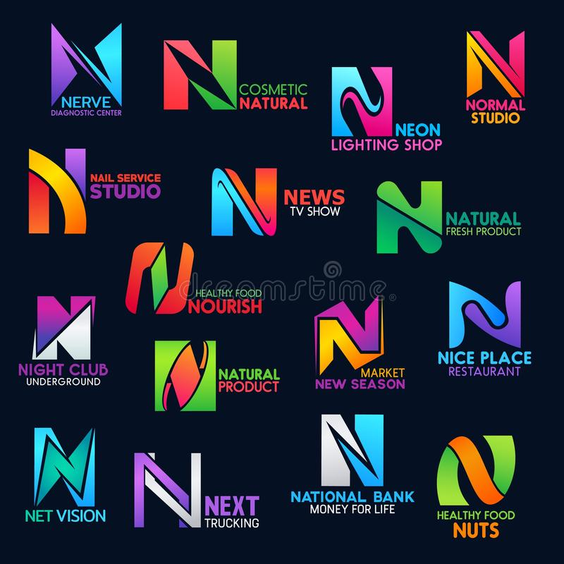 Corporate identity trend color modern style N icon. N icons of medical diagnostic center, natural cosmetic brand shop or nail service studio and news tv show stock illustration