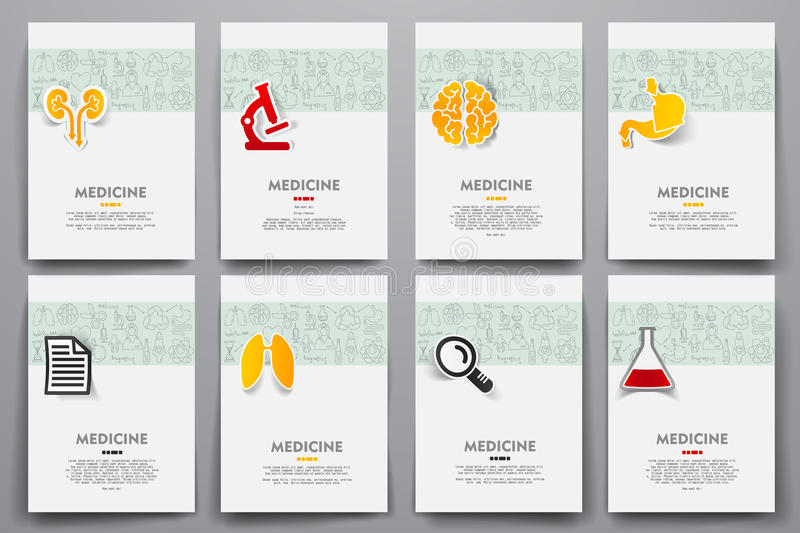 Corporate identity vector templates set with. Doodles medicine theme. Target marketing concept vector illustration