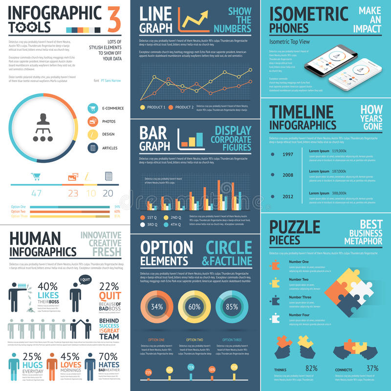 Corporate infographics vector elements in flat business colors stock illustration