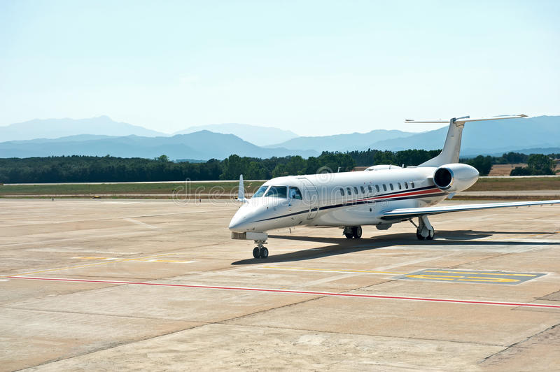 Corporate jet. A corporate jet parked at the Girona Airport, Spain royalty free stock photos