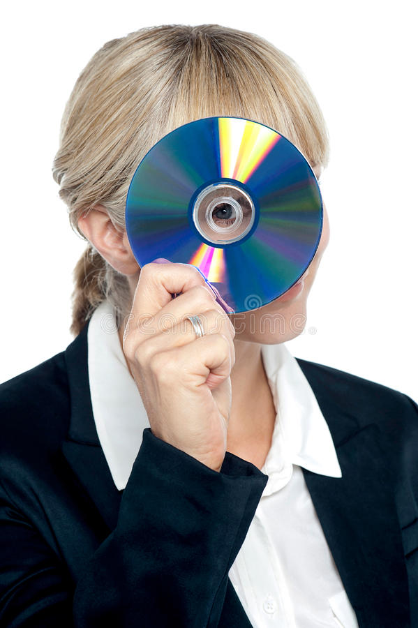 Download Corporate Lady Looking Through Compact Disc Hole Stock Photo - Image of cheerful, corporate: 28251214